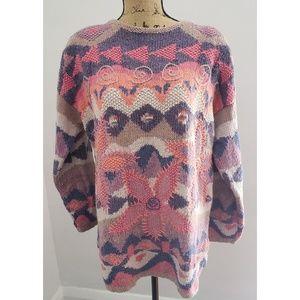 VINTAGE 1980'S SIGRID OLSEN Hand Knitted Sweater